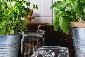 Herbs and checkpeas