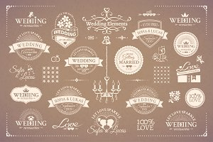 Classic wedding vintage badges set