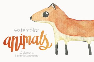 Cute watercolor animals set