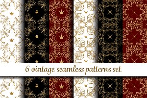 Vintage seamless patterns set