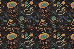 "Seamless pattern ""Mystical garden"""