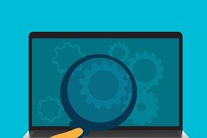 business concept, laptop, gears