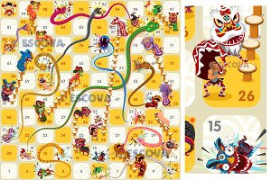 Snake and Ladder Board Game Vector