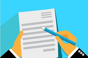 signing contract, form, vector