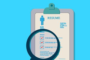 resume, magnifying glass