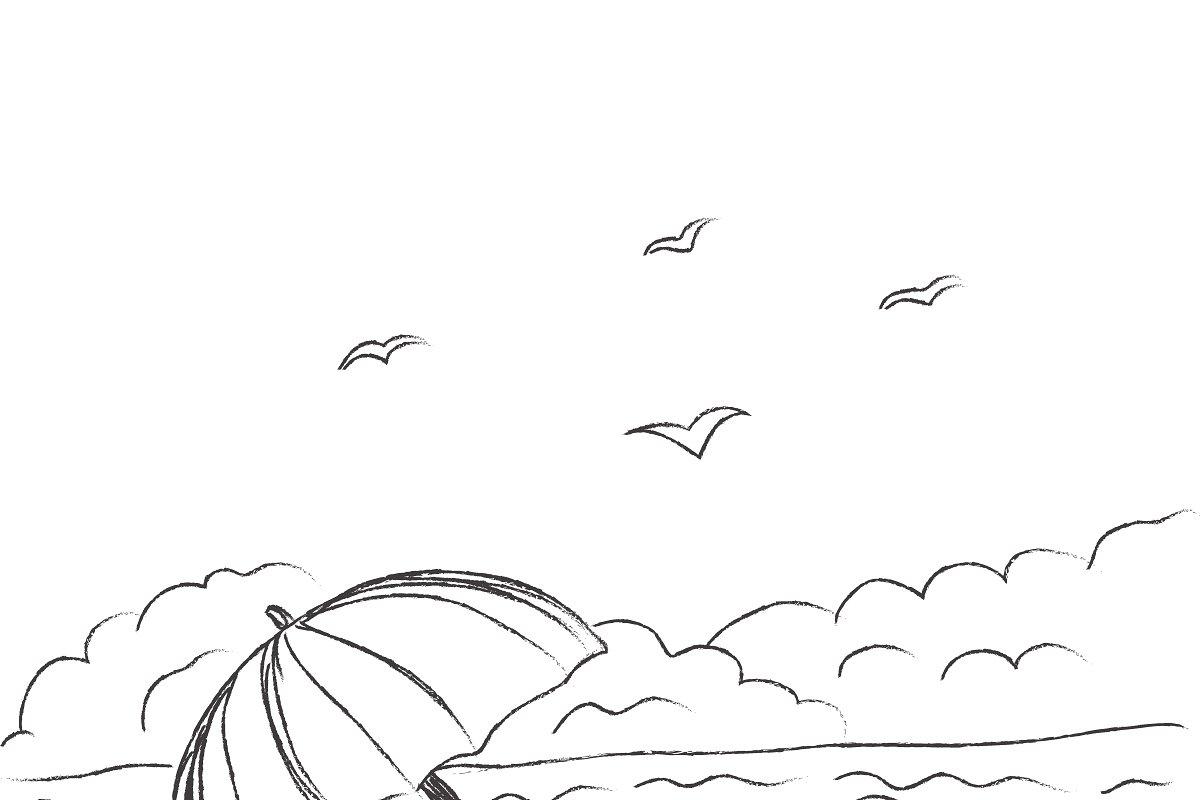 Summer, beach, flat, design, sketch