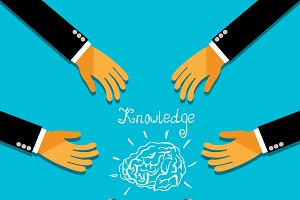 knowledge, brainstorm, hands