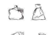 Vector, sketch, money, icons