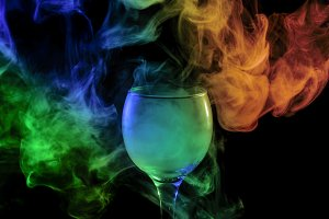 Smoke in glass. Halloween.