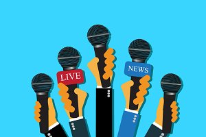 live report, news, microphones