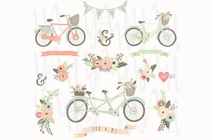 Vintage Floral Hand Drawn Bicycles