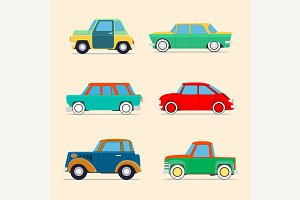 Retro cars  set .