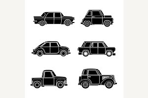 Vector vintage car silhouette.