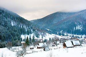 Carpathians village in the winter