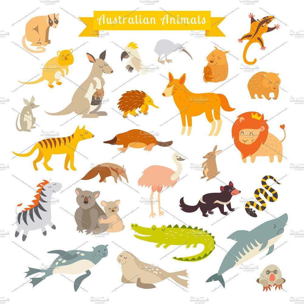 Animals world map australia illustrations creative market gumiabroncs Images