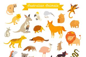 Animals world map, Australia