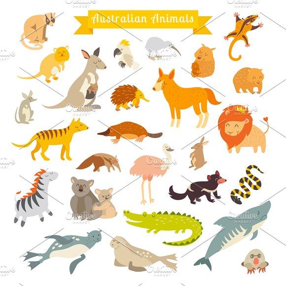 Animals World Map Australia Illustrations Creative Market - Australia on world map