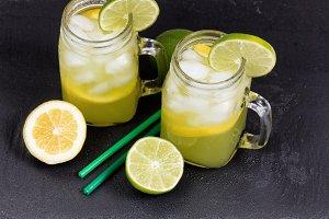 Fresh lemonade on slate stone
