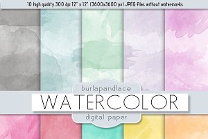 Watercolor digital paper