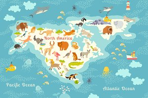 Animals world map, North America