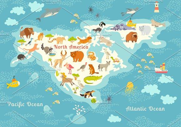 Animals world map North America  Illustrations  Creative Market