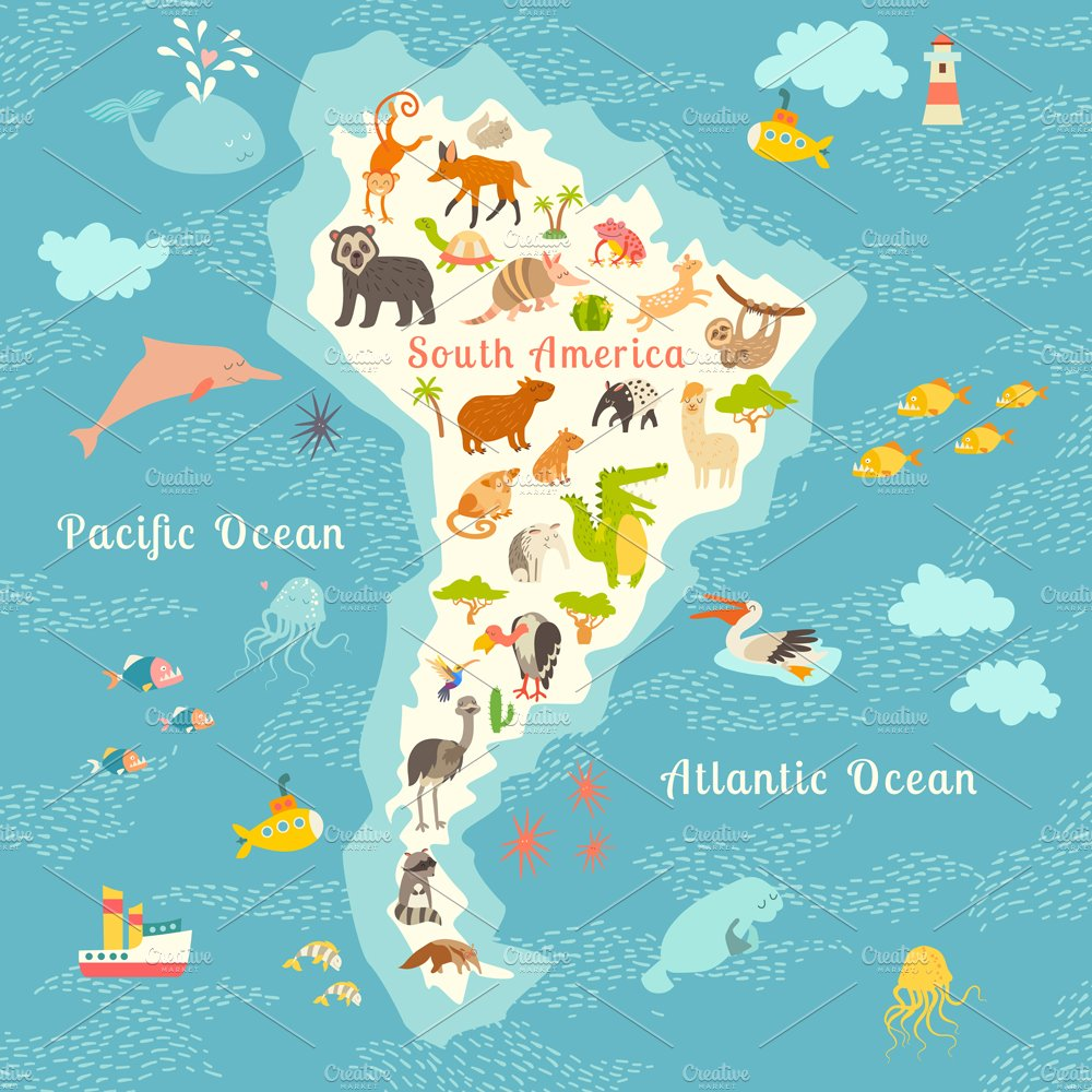 Animals World Map South America Illustrations Creative Market