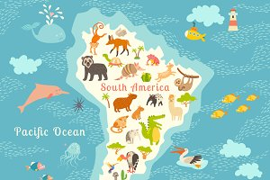 Animals world map, South America