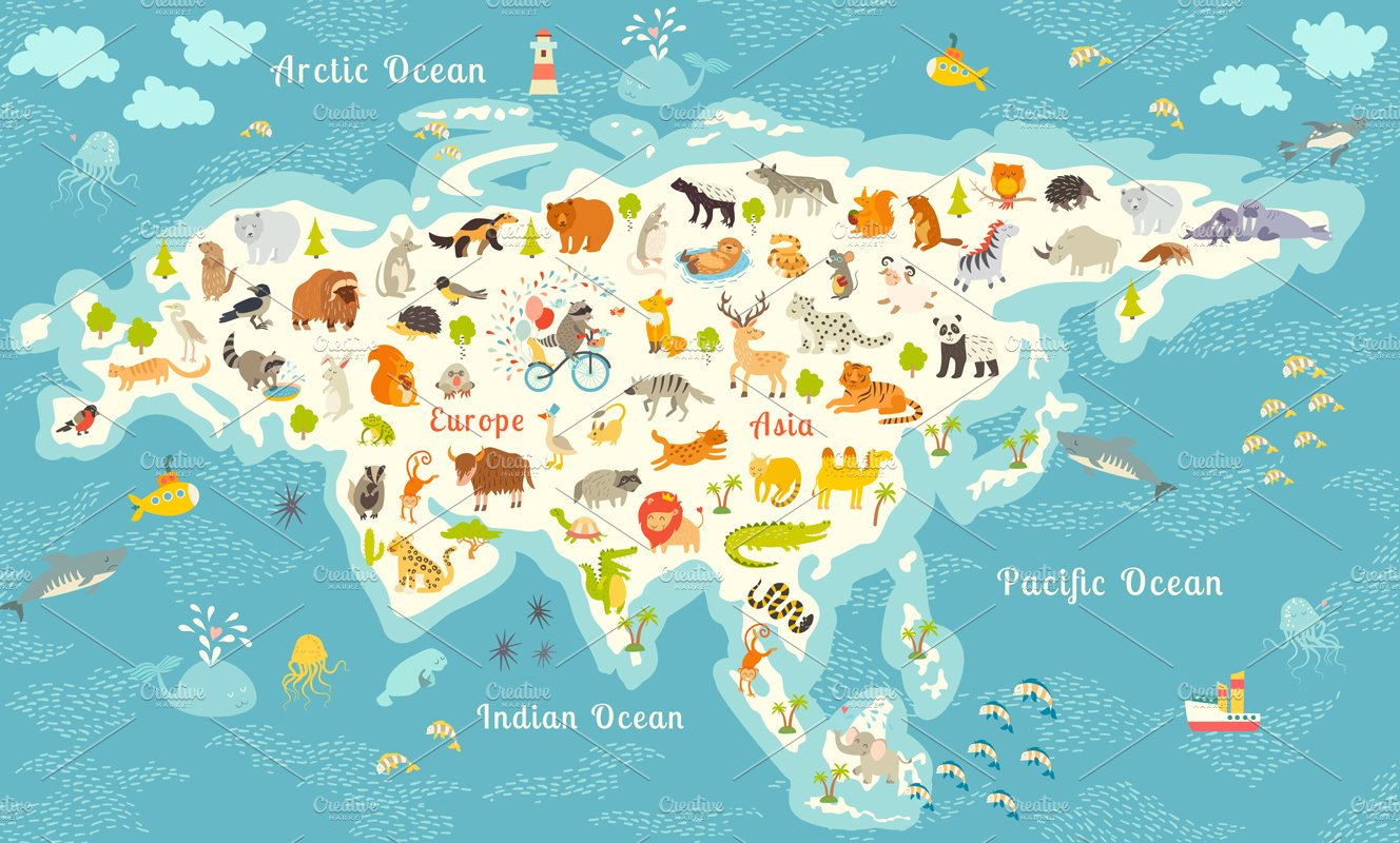 Animals World Map Eurasia Illustrations Creative Market