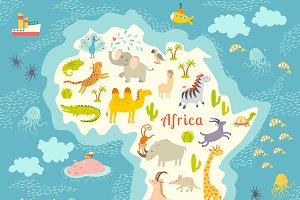 Animals world map, Africa