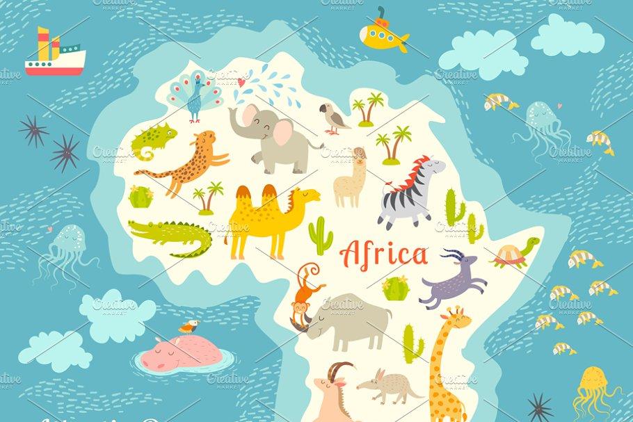 Animals World Map Africa Illustrations Creative Market