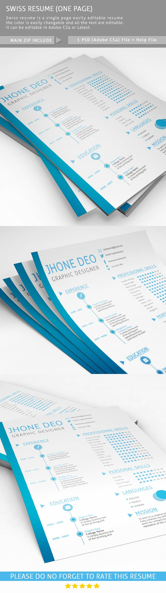 swiss resume one page resume templates on creative market