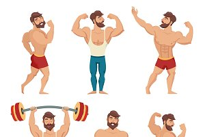 Set of muscular, bearded mans