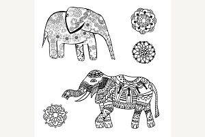 elephant with ethnic patterns
