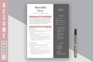 "Resume Template ""Meredith Grey"""
