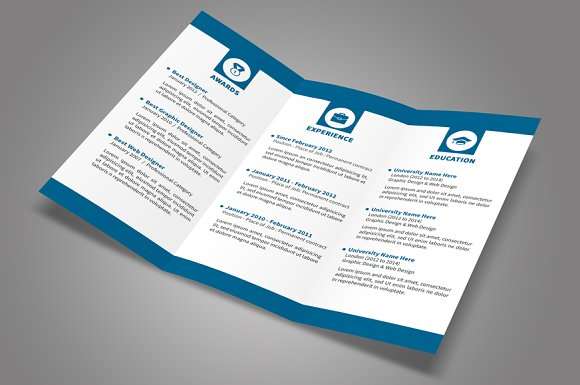 trifold resume resume templates creative market