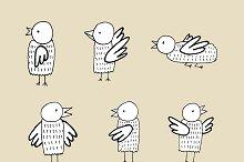 Hand drawn ink birds set