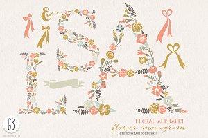 Flower monogram, floral letters ASL