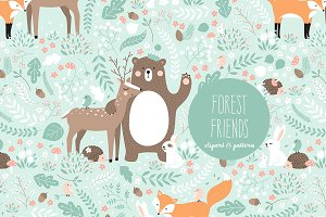 """Forest Friends"" clipart and pattern"