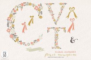 Flower monogram, floral letters CVT