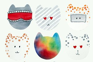 Set of watercolor cute cats
