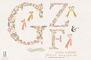 Flower monogram, floral letters FZG