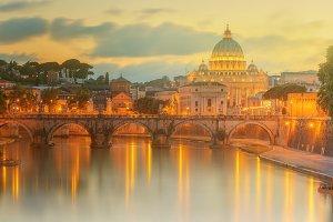 Sunset at Basilica of Saint Peter