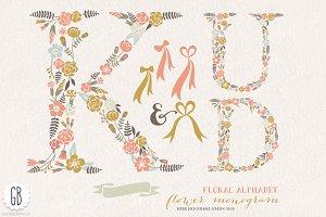 Flower monogram, floral letters KUD