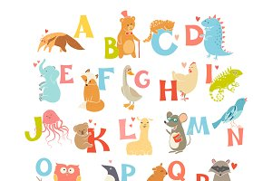 Cute animals zoo alphabet