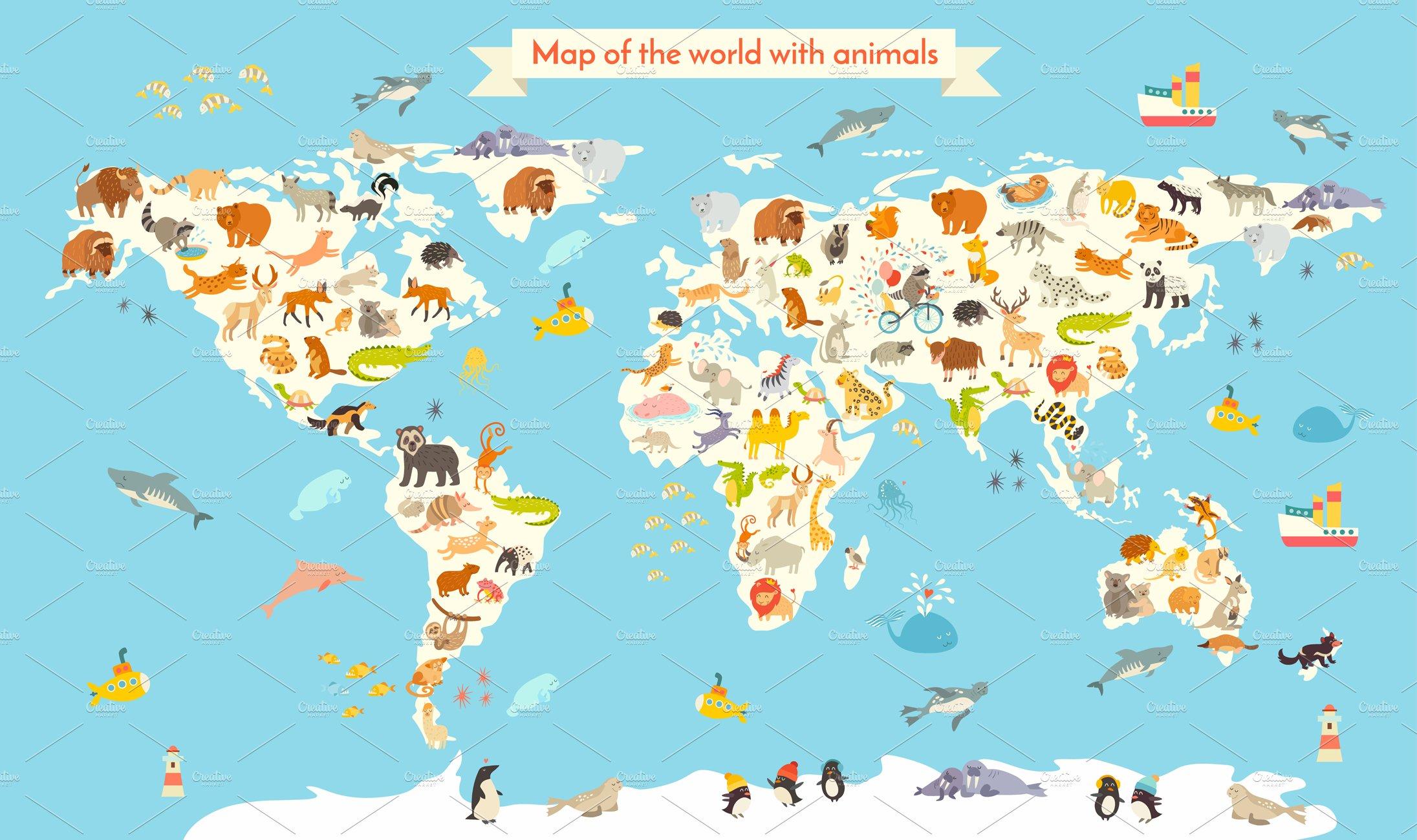 Animals world map Illustrations Creative Market