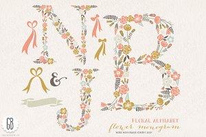 Flower monogram, floral letters NJB