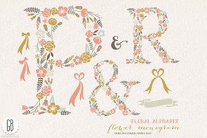 Flower monogram, floral letters PR&