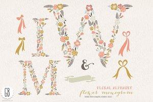 Flower monogram, floral letters WMI