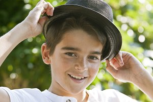 Portrait of boy with hat