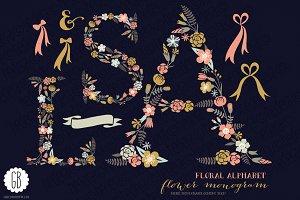 Floral letters, monogram, floral ASL